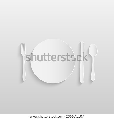 Illustration of a paper plate, knife, fork and spoon against a light background. - stock vector