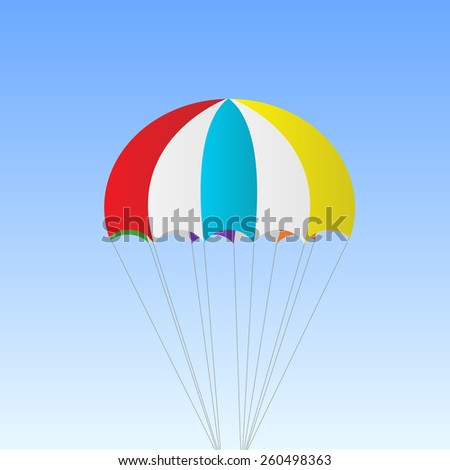 Illustration of a parachute against a sky background. - stock vector