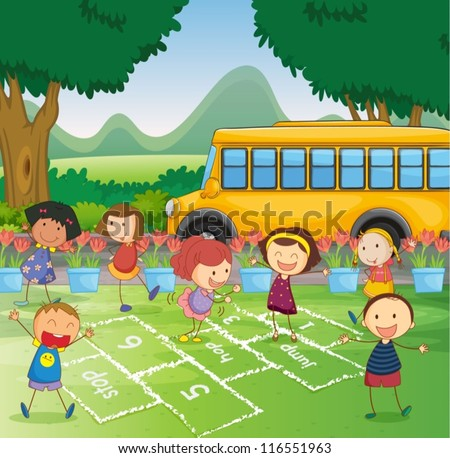 Illustration of a park scene with hopscotch - stock vector