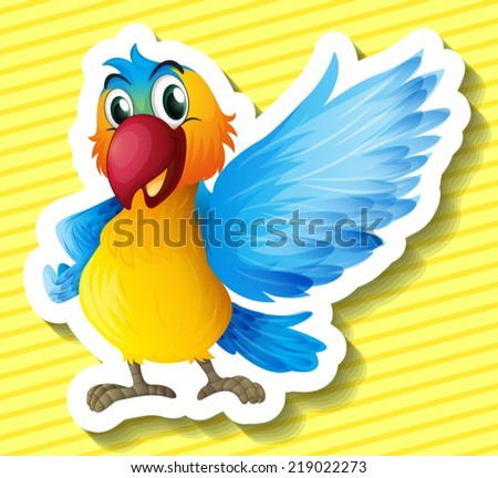 Illustration of a parrot with background - stock vector