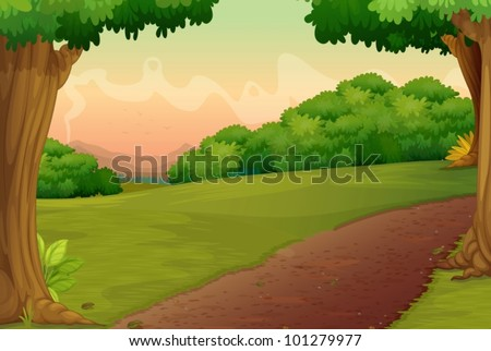 Illustration of a path in a rural setting - stock vector