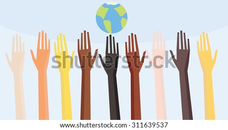Illustration of a people's hands with different skin color together. Race equality, diversity, tolerance illustration. - stock vector