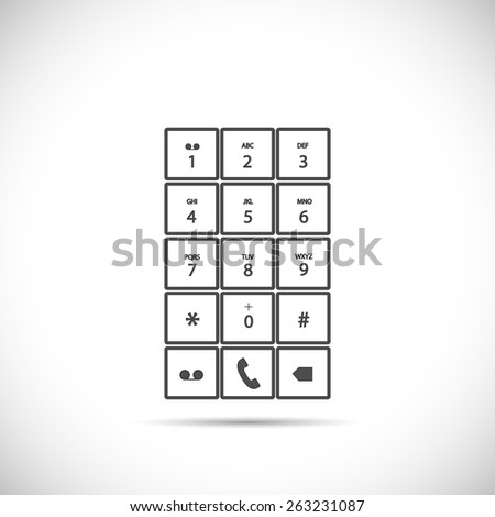 Illustration of a phone keypad isolated on a light background. - stock vector