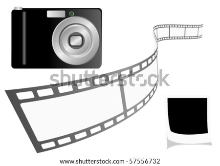 Illustration of a photo camera with film strip and a photo - stock vector