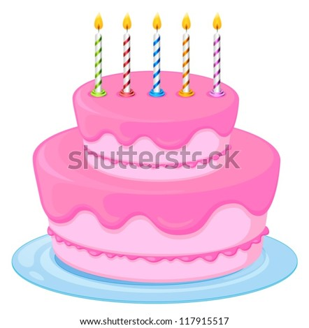 illustration of a pink birthday cake on a white background - stock vector