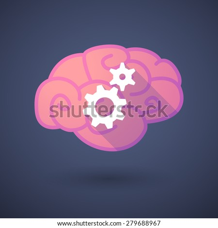 Illustration of a pink brain with gears - stock vector