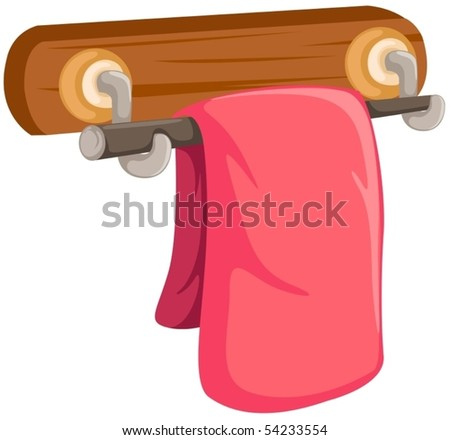 illustration of a pink towel on the wooden rack on white - stock vector