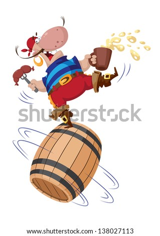 illustration of a pirate on a barrel - stock vector