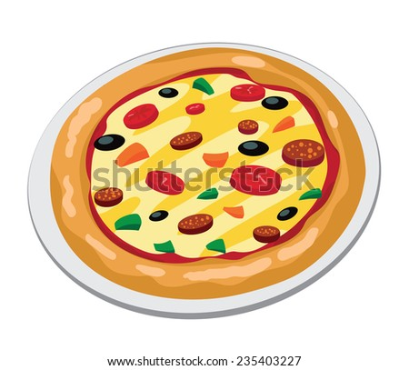 illustration of a pizza big - stock vector