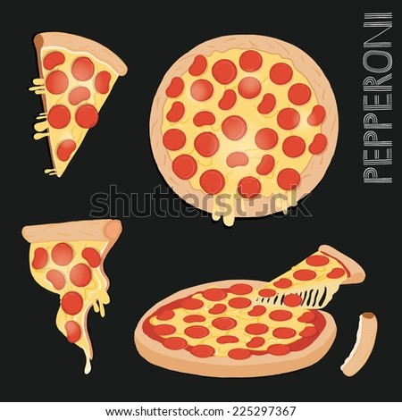 Illustration of a pizza slice. - stock vector