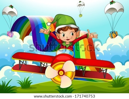Illustration of a plane with an elf and a rainbow in the sky with parachutes - stock vector