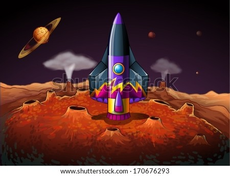 Illustration of a planet with an aircraft - stock vector