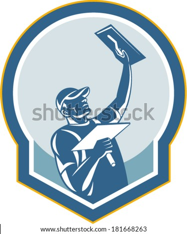 Illustration of a plasterer masonry tradesman construction worker with trowel done in retro style on isolated background - stock vector