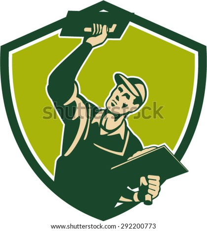 Illustration of a plasterer masonry tradesman construction worker with trowel plastering viewed from front set inside shield crest done in retro style on isolated background - stock vector