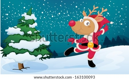 Illustration of a playful reindeer wearing Santa's outfit - stock vector