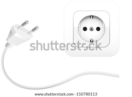 Illustration of a plug and a socket to connect electrical equipment. Isolated vector on white background. - stock vector