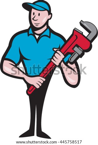 Illustration of a plumber in overalls and hat standing looking to the side holding monkey wrench viewed from front set on isolated white background done in cartoon style. - stock vector