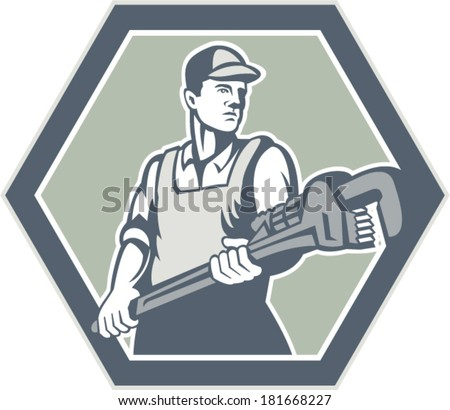 Illustration of a plumber with plumbing monkey wrench set inside hexagon facing front done in retro woodcut style on isolated background. - stock vector