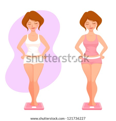 illustration of a plump cartoon girl checking her weight - stock vector