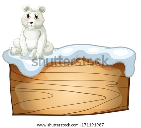 Illustration of a polar bear above an empty wooden board on a white background - stock vector