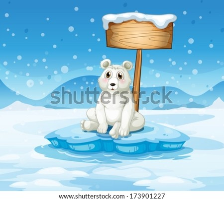 Illustration of a polar bear sitting under the empty wooden signboard - stock vector
