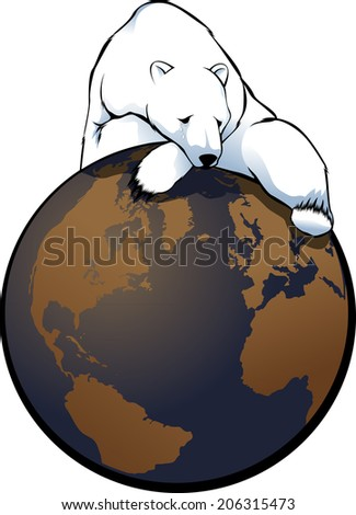 illustration of a polar bear with a tear in his eye slumped on top of the world.  - stock vector