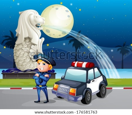 Illustration of a policeman and his patrol car near the statue of Merlion - stock vector