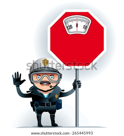 Illustration of a policeman on  street leaning on a limit overweight signal. Ideal to raise awareness about excess weight. - stock vector