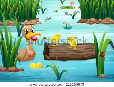 Illustration of a pond with animals - stock vector