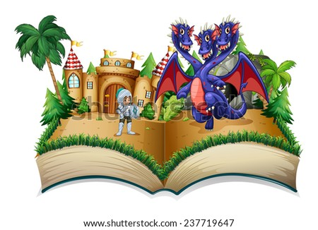 Illustration of a pop-up book with a knight and a dragon - stock vector