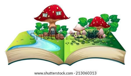 Illustration of a popup book with a mushroom house - stock vector