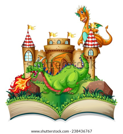 Illustration of a popup book with dragon and castle - stock vector