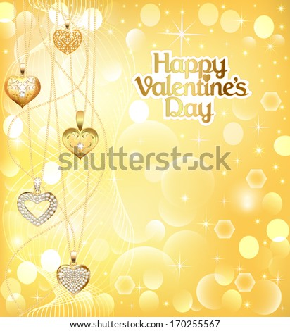 illustration of a postcard on Valentines day with pendants hearts chain of gold color - stock vector