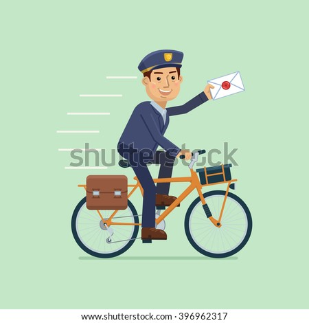 Illustration of a postman riding bike and delivering mail - stock vector