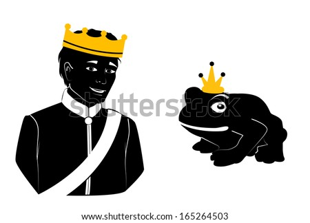 Illustration of a prince and a frog, both wearing crowns. - stock vector