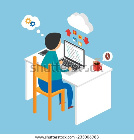 Illustration of a programmer sitting at the desk and working on the laptop, isometric style - stock vector