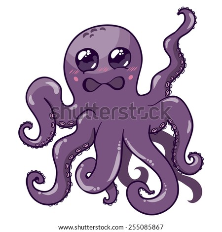 Illustration of a purple octopus isolated on white background - stock vector