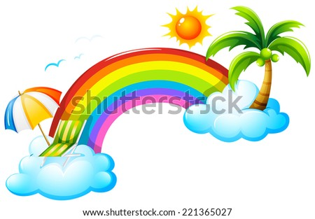 Illustration of a rainbow in the sky on a white background   - stock vector