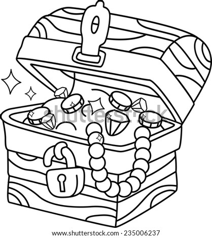 Illustration of a ready to print coloring page featuring a for Treasure coloring pages