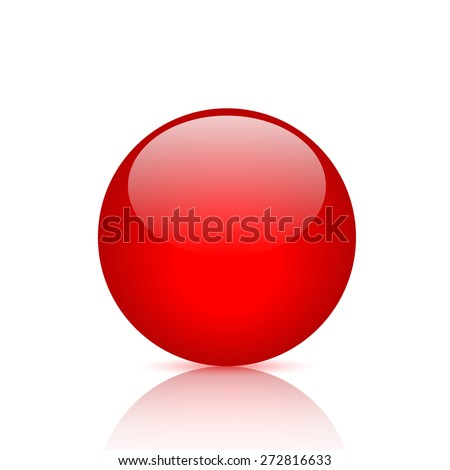Illustration of a red button isolated on a white background. - stock vector