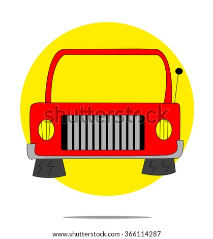 Illustration of a red car with yellow circle background - stock vector