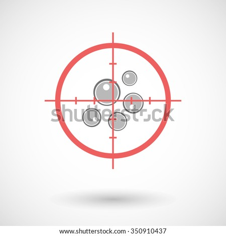 Illustration of a red crosshair icon targeting oocytes - stock vector