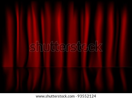 illustration of a red curtain background with reflection - stock vector
