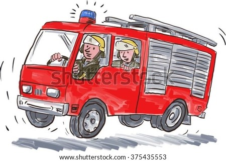 Illustration of a red fire truck engine firefighting apparatus with fireman fire fighter emergency worker riding on isolated white background. - stock vector