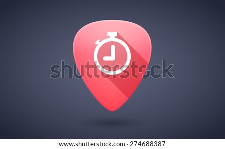 Illustration of a red guitar pick icon with a timer - stock vector