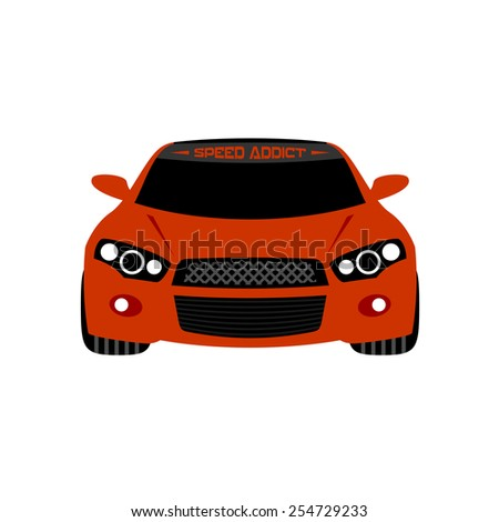 Illustration of a red sport car with angel eyes headlights. Front view. Isolated on a white background. - stock vector