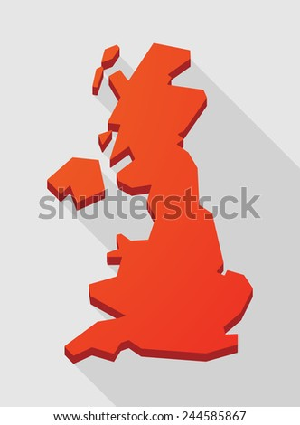 Illustration of a red  United Kingdom map - stock vector