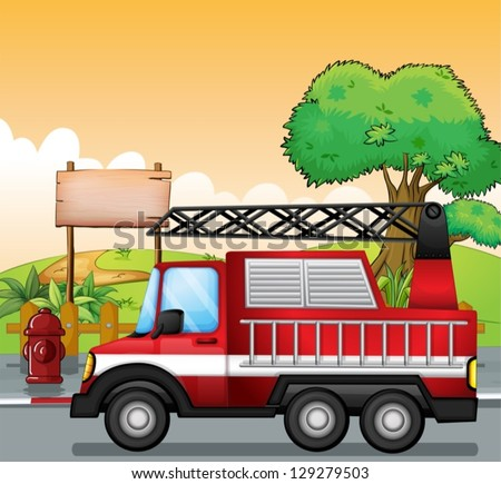 Illustration of a red utility truck and the signboard at the street - stock vector