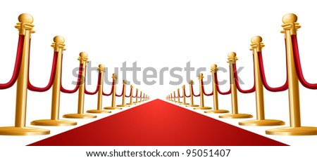 Illustration of a red velvet rope and red carpet - stock vector