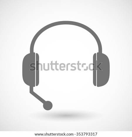Illustration of a remote assistance headset icon with  - stock vector